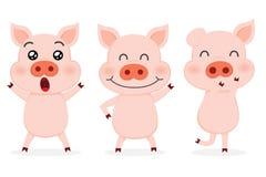 Uppsättning av gulliga svin vektor illustrationer