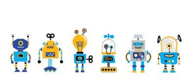 Uppsättning av gulliga tappningrobotar stock illustrationer