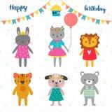 Uppsättning av gulliga tecknad filmdjur för design för lycklig födelsedag Royaltyfri Bild