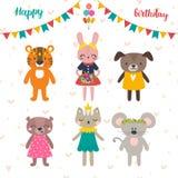Uppsättning av gulliga tecknad filmdjur för design för lycklig födelsedag vykort Fotografering för Bildbyråer