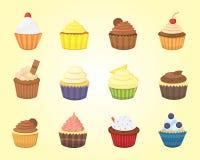 Uppsättning av gulliga vektormuffin och muffin Färgrik muffin för mataffischdesign Royaltyfri Bild