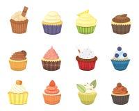 Uppsättning av gulliga vektormuffin och muffin Färgrik muffin som isoleras för mataffischdesign Fotografering för Bildbyråer
