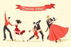 Uppsättning av gulligt dansa för par Fotografering för Bildbyråer