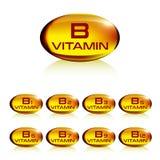 Uppsättning av gult vitamin b för gelatinkapsel Royaltyfri Foto