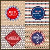 Uppsättning av hälsningkort för amerikansk självständighetsdagen Arkivfoton