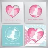 Uppsättning av hälsningkort för dag för moder` s Kvinnor och behandla som ett barn konturer, lyckönskantext, cuted hjärta på pric royaltyfri illustrationer