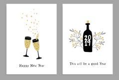 Uppsättning av hälsningkort för lyckligt nytt år, partiinbjudningar med utdragna vinexponeringsglas för hand, flaska och konfetti royaltyfri illustrationer