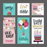 Uppsättning av hälsningskort Inbjudan för födelsedagparti Vektordesignmall med handhandstilord Fotografering för Bildbyråer