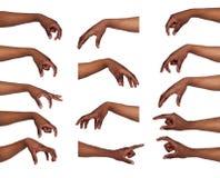 Uppsättning av händer för svart man` s Manlig hand som upp väljer något Arkivbild