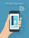 uppsättning av händer som rymmer den digitala minnestavlan och mobiltelefonen royaltyfri illustrationer