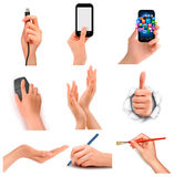 Uppsättning av händer som rymmer olika affärsobjekt. Arkivbild