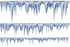 Uppsättning av hängande töa istappar av en blå skugga royaltyfri illustrationer