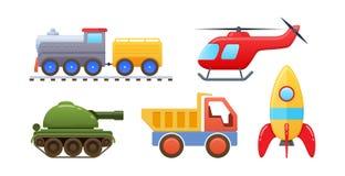 Uppsättning av härlig logik som framkallar kulöra leksaker för barn` s stock illustrationer
