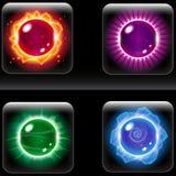 Uppsättning av härliga färgrika Orbsymboler royaltyfri illustrationer
