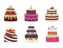 Uppsättning av härliga kakor för födelsedagar, bröllop, årsdagar vektor illustrationer
