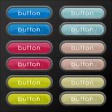 Uppsättning av härliga knappar för kulöra och pastellfärgade färger Arkivbild