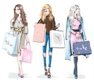 Uppsättning av härliga unga flickor med shoppingpåsar isolerade vita kvinnor för bakgrund mode Shoppingdagbegrepp Stilfullt skiss stock illustrationer