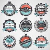 Uppsättning av högvärdig kvalitet, garanterade äkta emblem, retro beståndsdelvektor Fotografering för Bildbyråer
