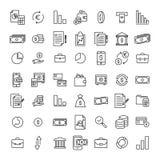 Uppsättning av högvärdiga bankrörelsesymboler i linjen stil Arkivfoton