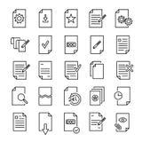 Uppsättning av högvärdiga dokumentsymboler i linjen stil stock illustrationer