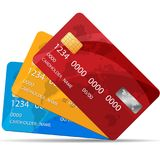 Uppsättning av högvärdiga kreditkortar också vektor för coreldrawillustration 3 färger av kreditkortar vektor illustrationer