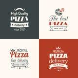 Uppsättning av högvärdiga kvalitets- pizzaetiketter Arkivbilder
