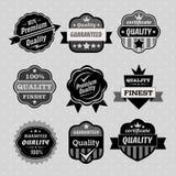 Uppsättning av högvärdiga & kvalitetsetiketter, emblem och stämpeln Royaltyfri Bild