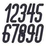 Uppsättning av högväxta eleganta förtätade skraj nummer för vektor från 0 till 9 som göras med parallella band som är bästa för b royaltyfri illustrationer