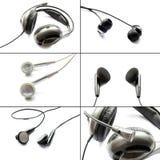 Uppsättning av hörlurar Arkivbild