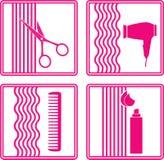 Uppsättning av hairstylingsymbolen Royaltyfria Foton