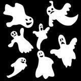 Uppsättning av halloween emotionella spökar Arkivfoto