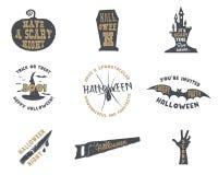 Uppsättning av halloween konturemblem För allhelgonaaftonparti för tappning hand dragen design för logo för att fira ferie retro vektor illustrationer