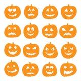 Uppsättning av 16 halloween pumpor Royaltyfri Foto
