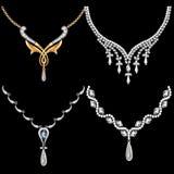 Uppsättning av halsbandkvinnor med ädelstenar Royaltyfri Fotografi