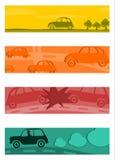 Uppsättning av halva baner med retro bilar. stock illustrationer