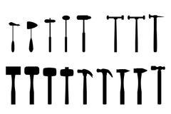 Uppsättning av hammaren i kontursymbol Royaltyfria Bilder