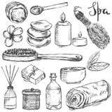 Uppsättning av hand dragen brunnsort och släkta produkter för skönhet arkivfoton