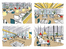 Uppsättning av hand dragen coworking Moderna kontorsinre, öppet utrymme workspace med datorer, bärbara datorer, belysning och stä vektor illustrationer