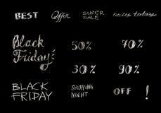 Uppsättning av hand dragen försäljningsbokstäver, typografi Återförsäljnings- befordranbaner för rabatterbjudande eller Black Fri Arkivbild