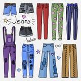 Uppsättning av hand dragen kvinnakläder Jeans Royaltyfri Foto