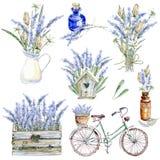 Uppsättning av hand dragen vattenfärgclipart Provence atmosfär, laven Royaltyfria Foton