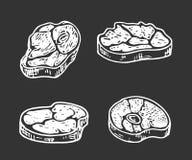 Uppsättning av hand dragit kött som isoleras på svart bakgrund Kött skissar vektor illustrationer