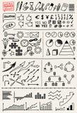 Uppsättning av hand drog affärsbeståndsdelar royaltyfri illustrationer