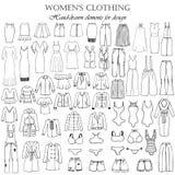 Uppsättning av 55 hand-drog beståndsdelar av kläder för kvinna` s för design vektor illustrationer
