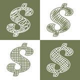 Uppsättning av hand drog dollar Arkivfoton