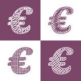 Uppsättning av hand drog euro Royaltyfria Foton