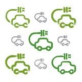 Uppsättning av hand-drog gröna ecobilsymboler, samling Royaltyfri Fotografi