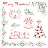 Uppsättning av hand drog julobjekt Royaltyfri Illustrationer