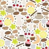 Uppsättning av hand drog kaffe- och kakabeståndsdelar seamless modell Royaltyfri Bild