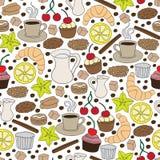 Uppsättning av hand drog kaffe- och kakabeståndsdelar seamless modell Royaltyfri Fotografi